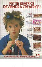 """PUBLICITE  1983  NATHAN jeux jouets """"petite Béatrice deviendra créatrice """""""