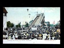 c.1906 Shooting the Chutes & Balloon Ascension Crescent Park RI post card