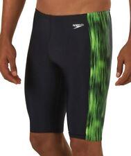 SPEEDO Reflecting Lights PowerFlex Eco Swim Jammer Short Black Green 30 32 34 36