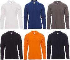 polo maglia maglietta uomo manica lunga 100% cotone taglie forti S - 4XL t-shirt