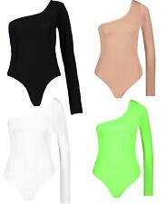 Womens One Shoulder Long Plain Bodysuit Leotard Top T Shirt 1 shoulder new