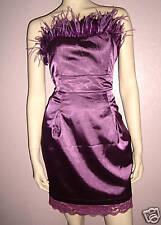 WOMENS PURPLE FEATHER LACE TRIM SATIN CORSET EVENING PARTY DRESS size 10-12