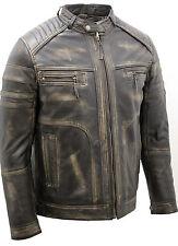homme Vintage Noir rub Off cuir de course Veste motard