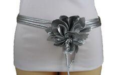 Women Gold Silver Red White Fashion Belt Hip Waist Flower Buckle Wrap S M L XL