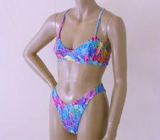 80s 90s Brazilian High Leg Bikini Bottom and Ballet Top in Skyline Print