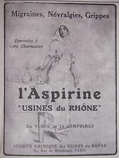 PUBLICITÉ L'ASPIRINE POUR MIGRAINE - GRIPPE - USINES DU RHÔNE - ADVERTISING