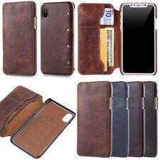 Vintage Flip Echt Leder Tasche mit Kartenfach Hülle Für iPhone X Samsung Note 8
