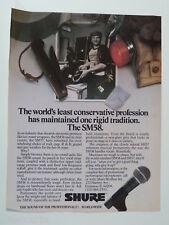 retro magazine advert 1982 SHURE sm 58