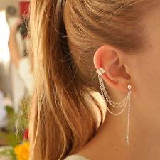 New Women Punk Rock Leaf Chain Tassel Dangle Cuff Wrap Earring Ear Stud WL