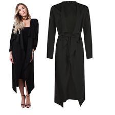 Black Womens Maxi Midi Long Sleeved Belted Waterfall Duster Jacket Dress Coat