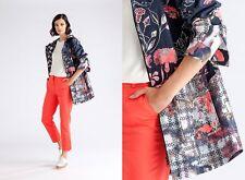 Ivko knitwear Jacke Mantel Waterproof Parka Floral wasserabweisend blau 61502