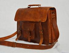 Men's Large Leather Messenger Bag Shoulder Business Briefcase 2 Laptop Handmade