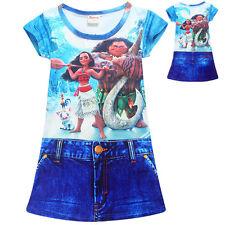 Mädchen Moana Kinder Mode Cartoon Zwei Anzug Jeansrock Freizeit Party Kleid