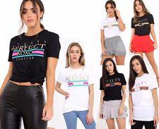 Womens Slogan T-shirt Celeb Designer Inspired Casual Top perfect liberty t-shirt