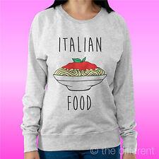 "FELPA DONNA LEGGERA SWEATER GRIGIO CHIARO "" ITALIAN FOOD "" ROAD TO HAPPINESS"