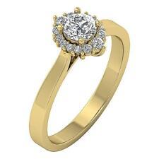 Genuine Journey Diamond Solitaire Halo Anniversary Ring SI1 H 0.75Ct Yellow Gold