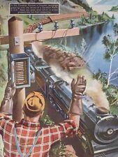 Mounted print Canada Rockies Steam Train Railway 1950