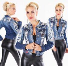Kurz geschnittene Destroyed-Jeansjacke mit frechen Patches in blue washed