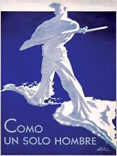 COMO UN SOLO HOMBRE Antonio Arias Bernal Poster Vintage World War II Art Print