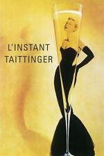 Fashion Lady Black Dress Glass Champagne Taittinger Vintage Poster Repro FREE SH