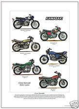 Clásico Kawasaki Motos-Tamaño A3 impresión de arte-Z1 Z650 a7350 Mach Iii & Iv
