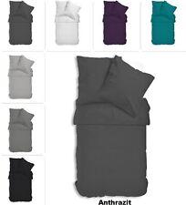 Uni Bettwäsche Microfaser Garnitur Set Bettbezüge einfarbig Reißverschluss NEU