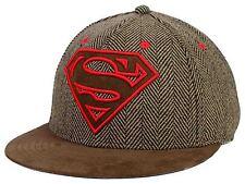 DC COMICS SUPERMAN HERRINGBONE WITH LOGO FLAT BRIM STRAPBACK HAT CAP BRAND NEW