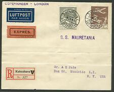 DENMARK 1929 50ore + 1kr on regis express FLIGHT cover