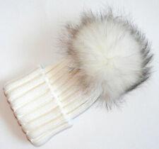 Catya Luxus Bommel Mütze Echtfell Mädchen Wolle handgestrickt creme Gr.5-12 Neu
