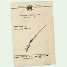 H&R TOPPER 148 188 INSTRUCTIONS PARTS SHOTGUN MANUAL MAINTENANCE BREAKDOWN