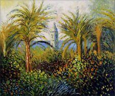 Hand Painted Oil Painting Repro Claude Monet Garden in Bordighera, 20x24in