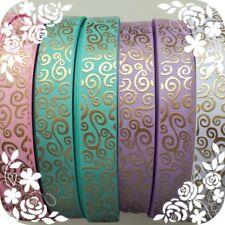 25mm  Beautiful Gold Swirl Grosgrain Ribbon -  Purple,  Pink,  Aqua and White