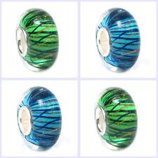 Murano Stripe Gold Wave Glass Bead Sterling Silver for European Charm Bracelet