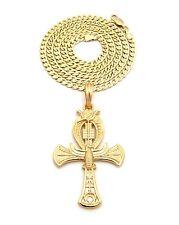 "New Egypt ANKH Cross Pendant &4mm/24"" Dia-Cut Cuban Chain Necklace RC1223"