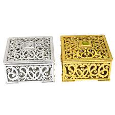 12pcs Gold Silver Mini Candy Box Creative Plastic Hollow Square Decor Boxes