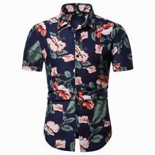 Floral short sleeve luxury slim fit casual summer dress shirt men's tops t-shirt