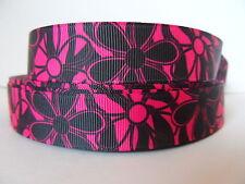 "Grosgrain Ribbon, Large Hot Pink & Black Daisies Wild Flowers Nature Beauty 7/8"""