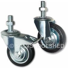 """3"""" Castor Wheels Select Type & Qty Swivel Castors Bolt Nut Rubber Wheel Trolley"""