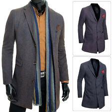 Mens Trench Coat 3/4 Long Jacket Elegant Lightweight Cashmere Overcoat Slim Fit