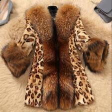 Womens Lapel Collar Thick Parka Slim Leopard Winter Warm Overcoat Slim Jacket