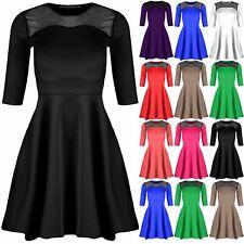 Womens Top Lace Mesh Franki Swing Dress Ladies Sleeveless Flared Skater Dress