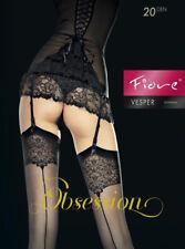 Bas noirs pour porte-jarretelles couture et jarretiere dentelle sexy 20D Vesper