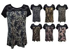 New Women Ladies Lace Neck Various Print Short Sleeve Smock Top Plus Size 16/26