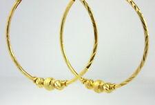 STUNNING DIAMOND-CUT HOOPS with BEADS 22K 18K Yellow Gold GP Thai Earrings LOOK!