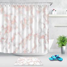 "Rose Gold Marble Fabrtic Shower Curtain Set 71"" Bathroom Waterproof Liner Hooks"