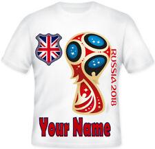 KIDS Russia 2018 Football Top Personalised England Union Jack T shirt!!