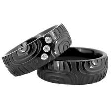 Black Titanium His & Hers Engagement Wedding Ring Sets CZ Finger Print Design