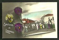 Lemnos Art Nouveau rppc Flowers People Greece ca 1906