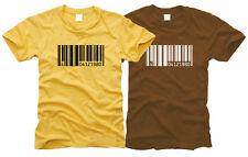 BARCODE mit Ziffern Wunschdruck - Herren-T-Shirt, Gr. S bis XXL Geburtstag etc.