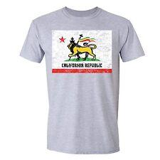 California Republic Flag T-shirt Rasta Lion of Judah Zion Jamaica Cross Tshirt